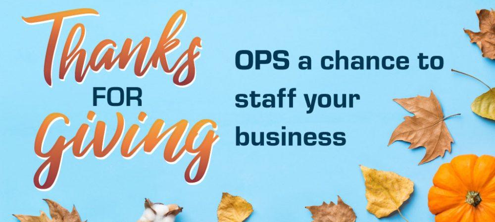Free Staffing - Thanksgiving Promo