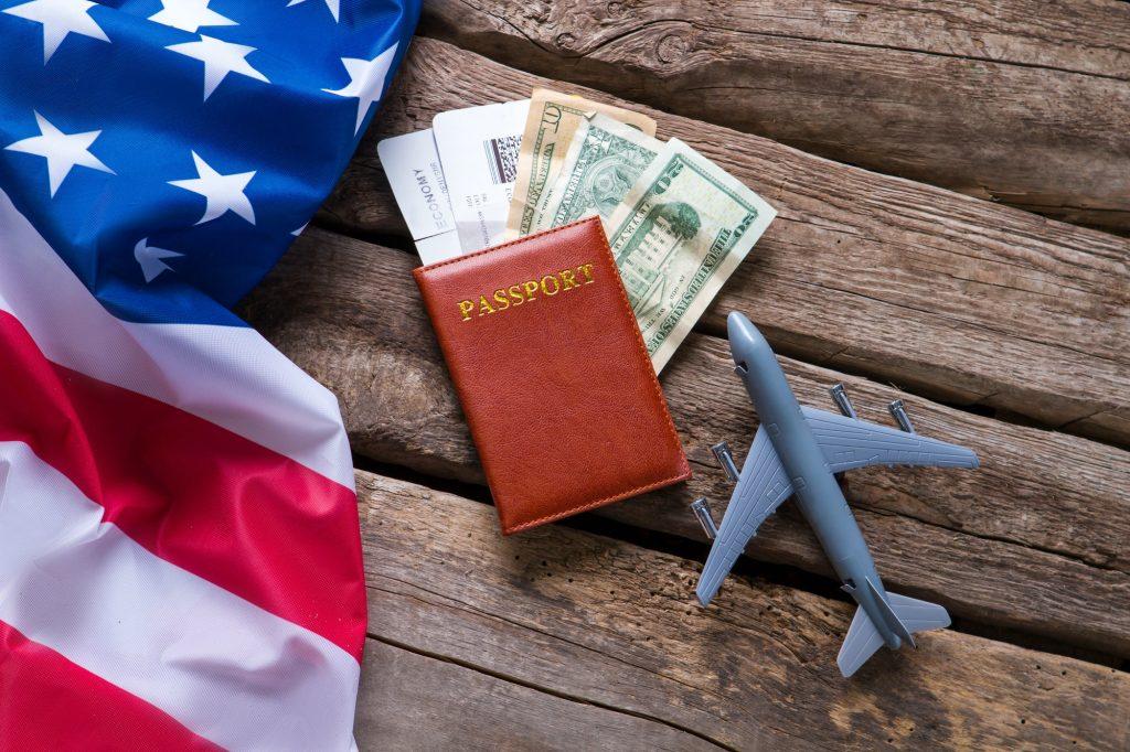 USA flag and a passport
